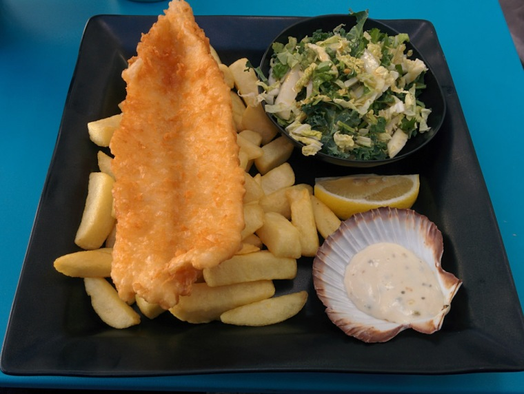 Fish, chips and Kale and Corriander