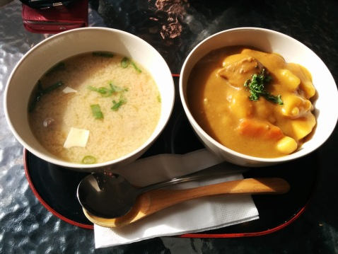 Miso Soup and Beef Katsu Don on a bed of rice