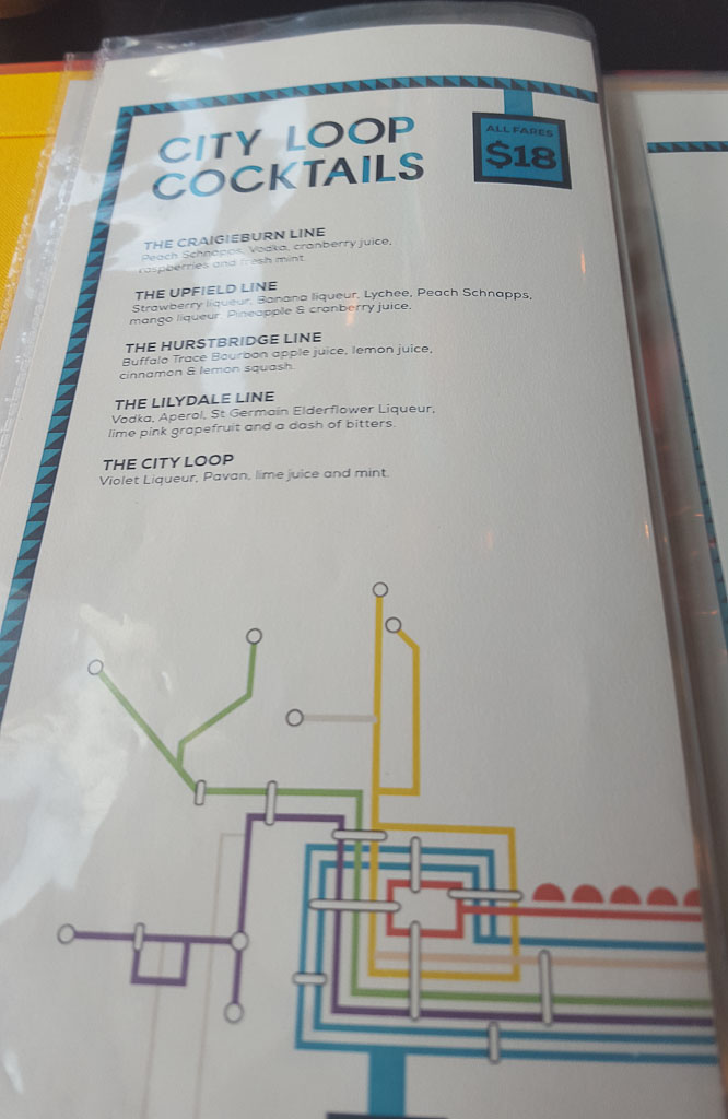 Bluetrain cocktail menu