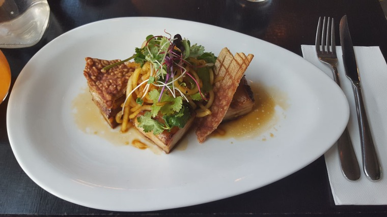Plated pork belly at Bluetrain