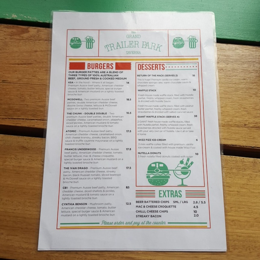 The Grand Trailer Park Taverna Menu